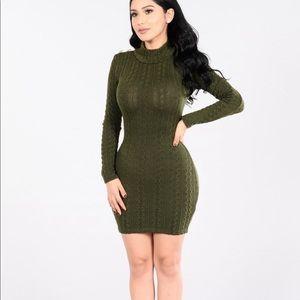 Olive turtleneck dress